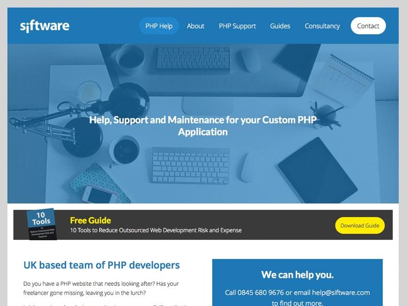 php landing page ui design